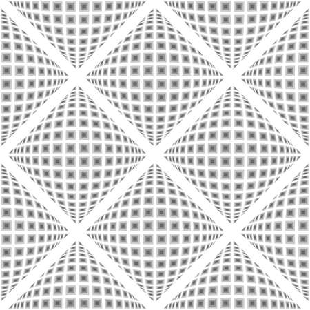 geometric patterns: Design seamless monochrome warped diamond pattern. Abstract convex textured background. Vector art. No gradient