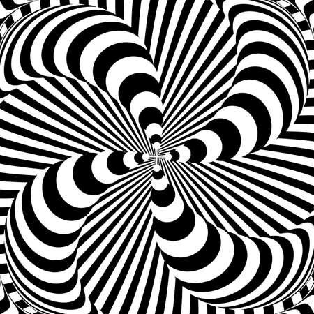 Ontwerp monochrome whirlpool motieillusie achtergrond. Abstracte strip vervorming achtergrond. Vector-kunst illustratie Stock Illustratie