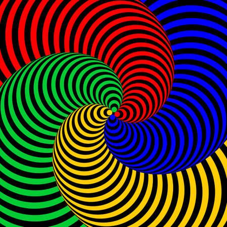 torsion: Design colorful swirl circular movement illusion background. Abstract strip distortion backdrop. Vector-art illustration Illustration
