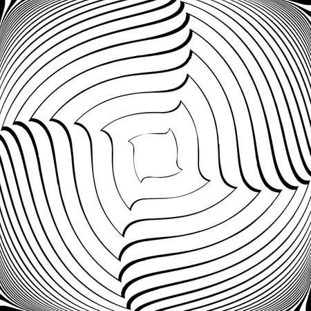 torsion: Design monochrome vortex movement illusion background. Abstract square torsion backdrop. Vector-art illustration Illustration