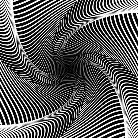 distortion: Design whirlpool movement illusion background. Abstract lines distortion geometric backdrop. Spider web texture. Vector-art illustration Illustration