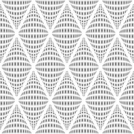 convex: Design seamless monochrome warped diamond pattern. Abstract convex textured background. Vector art. No gradient