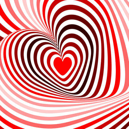 unusual valentine: Design hearts twisting movement illusion background. Abstract strip torsion backdrop. Vector-art illustration. No gradient Illustration
