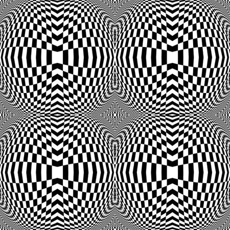 Design monochrome movement illusion checkered background. Abstract distortion backdrop. Vector art Vector