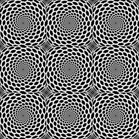 원활한 흑백 나선형 운동의 뱀 가죽 패턴을 디자인합니다. Op 아트 스타일의 추상적 인 배경입니다. 벡터 아트 일러스트