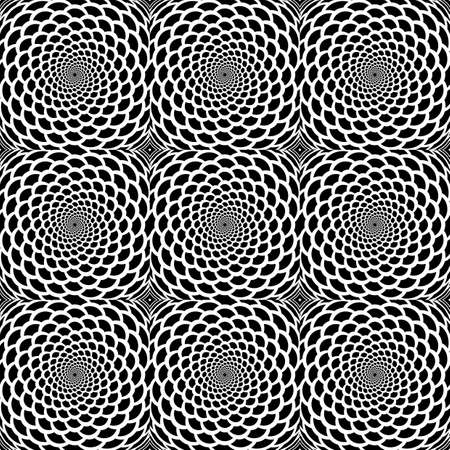 Design seamless monochrome spiral movement snakeskin pattern. Abstract background in op art style. Vector art