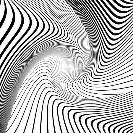distortion: Design monochrome triangle movement illusion background. Abstract striped distortion geometric backdrop. Vector-art illustration