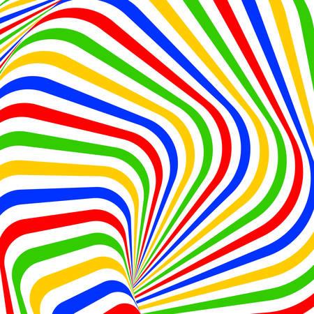 Design colorful vortex movement illusion background. Abstract stripe torsion backdrop. Vector-art illustration