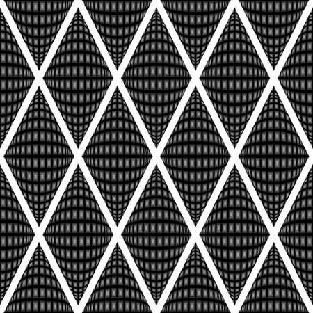 parallelogram: Dise�o del modelo del diamante deformado monocromo sin problemas. Resumen textura de fondo convexo. Vector el arte. No degradado