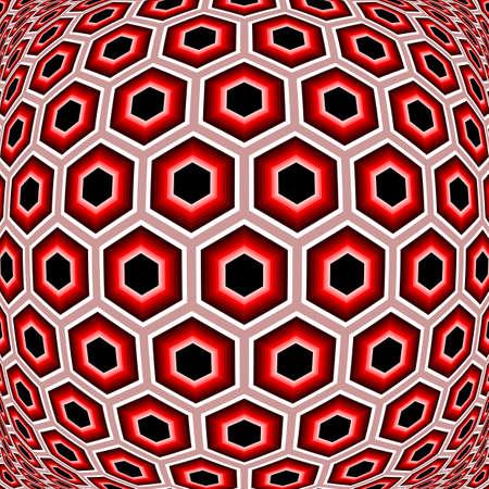 torsion: Design distorted hexagon geometric pattern. Colorful textured background. No gradient. Vector art