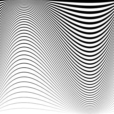 Design monochrome movement illusion background. Abstract striped lines distortion backdrop. Vector-art illustration