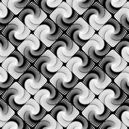 speckled: Design seamless vortex movement strip geometric pattern. Abstract monochrome waving lines background. Speckled texture. Vector art Illustration