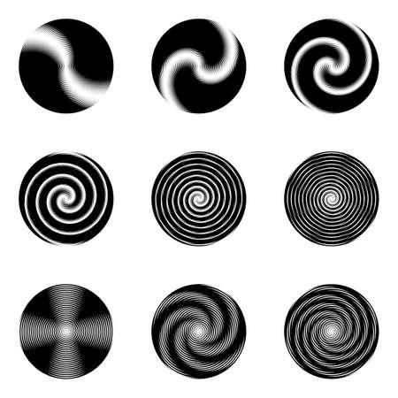 vanish: Set of monochrome circle geometric icons. Whirl movement textured elements. Vector art
