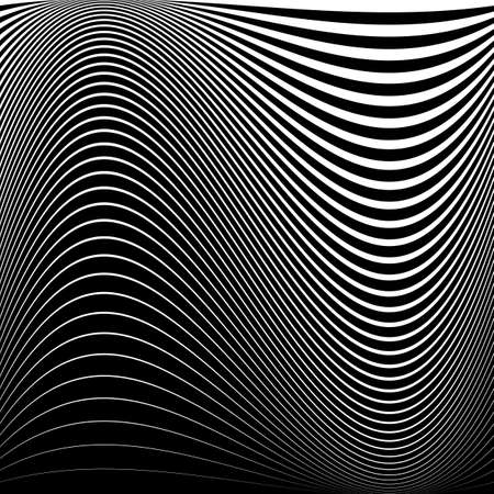 distortion: Design monochrome movement illusion background. Abstract striped lines distortion backdrop. Vector-art illustration