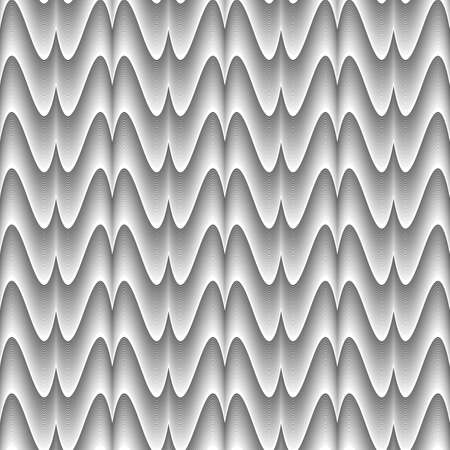 Design seamless monochrome zigzag wave pattern. Abstract stripy background. Vector art. No gradient Vector