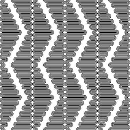 deform: Design seamless monochrome zigzag geometric pattern. Abstract vertical stripy background. Vector art