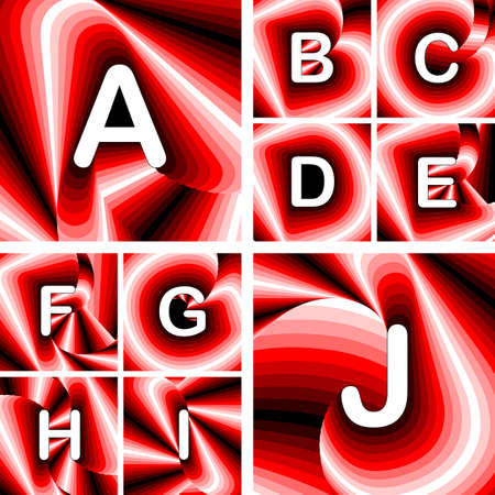 twisting: Design ABC letters from A to J. Strip twisting lines textured font. Vector-art illustration. No gradient