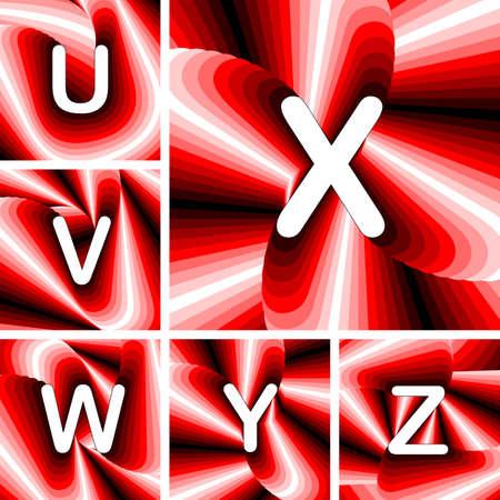 claret: Design ABC letters from U to Z. Strip twisting lines textured font. Vector-art illustration. No gradient Illustration
