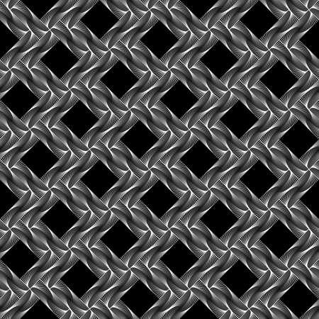latticed: Design seamless diamond grid pattern. Abstract geometric monochrome background. Speckled texture. Vector art