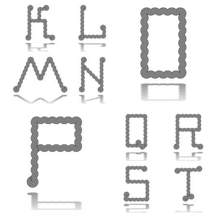twisting: Design ABC letters from K to T. Strip twisting lines textured font. Vector-art illustration Illustration