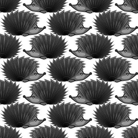 Design monochrome seamless diagonal pattern. Funny hedgehogs background. Vector art
