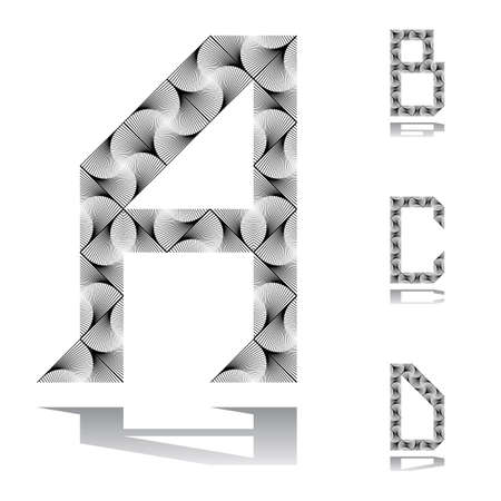 Design ABC letters from A to D.  Vector