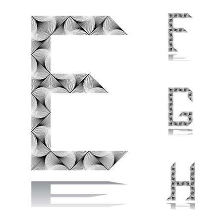 Design ABC letters from E to H.  Vector