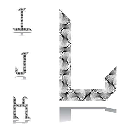 Design ABC letters from I to L.  Vector