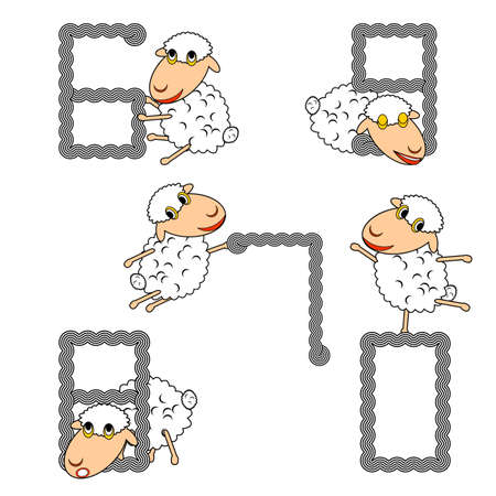 Design numbers set with funny cartoon sheep.  Vector