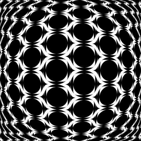 Design monochrome warped grid geometric pattern. Abstract latticed textured background. Vector art Vector