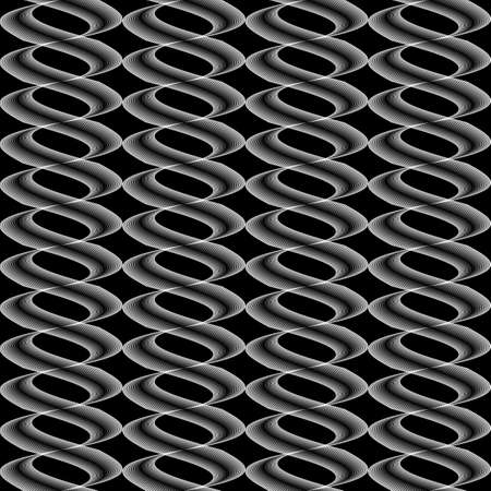 Design seamless monochrome twisted wave pattern. Abstract stripy background. Vector art Vector