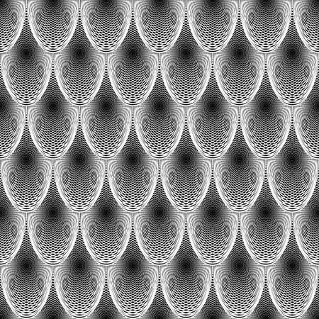 Design seamless monochrome ellipse geometric lines pattern. Abstract grid textured background. Vector art Vector