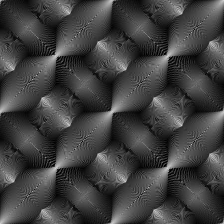 convex: Design seamless monochrome convex pattern. Abstract lines textured background. Vector art. No gradient