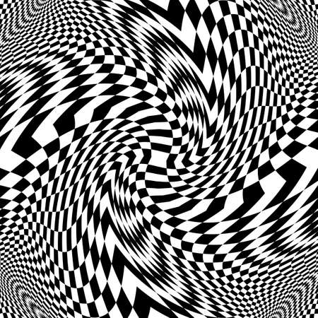 distortion: Design monochrome movement illusion checkered background. Abstract distortion backdrop. Vector-art illustration Illustration
