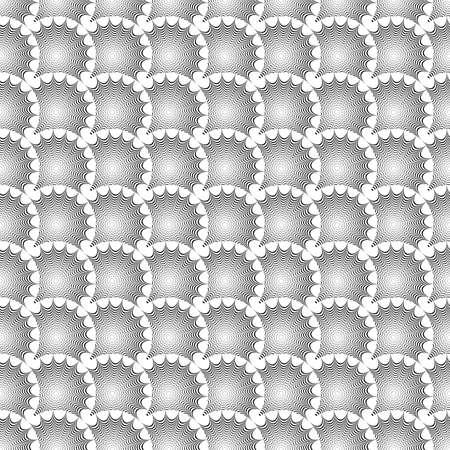 wattle: Design seamless monochrome geometric pattern. Abstract textured background. Vector art