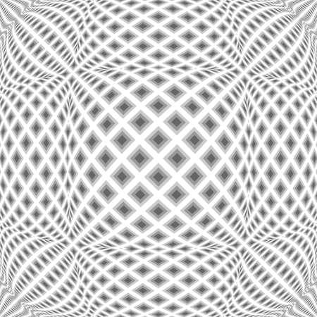 checkered volume: Design monochrome warped diamond pattern.  Illustration