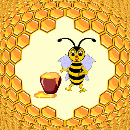 A cute cartoon bee with a honey pot surrounded by honeycombs. Vector-art illustration