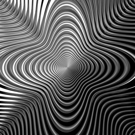 deform: Design monochrome whirl circular movement background. Abstract stripy warped textured backdrop. Vector-art illustration. EPS10 Illustration