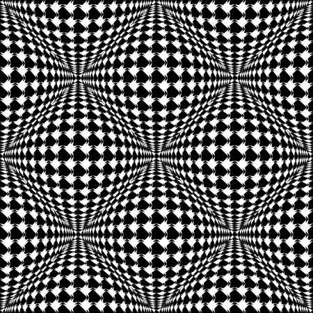 checkered volume: Design seamless monochrome warped checked pattern. Abstract convex textured background. Vector art