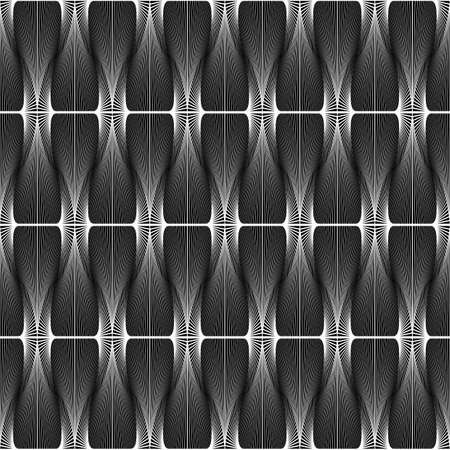 torsion: Design seamless striped geometric pattern. Abstract monochrome waving lines background. Speckled texture. Vector art