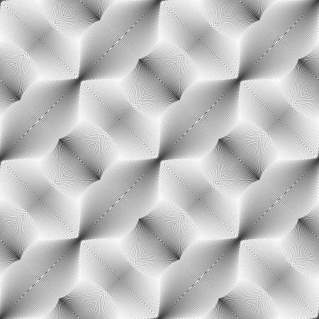 no gradient: Design seamless monochrome convex pattern. Abstract lines textured background. Vector art. No gradient