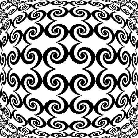 deform: Design monochrome warped grid decorative pattern. Abstract spiral latticed textured background. Vector art Illustration