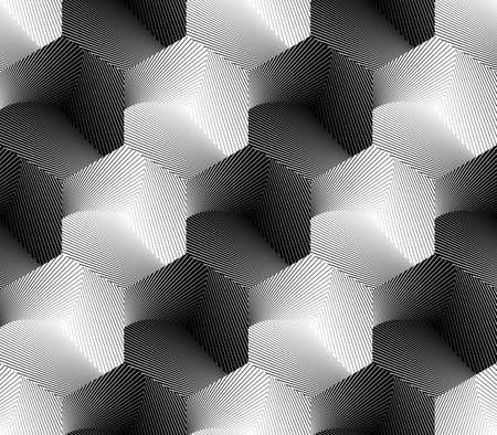 Design seamless hexagon geometric pattern. Abstract monochrome lines background. Vector art. No gradient