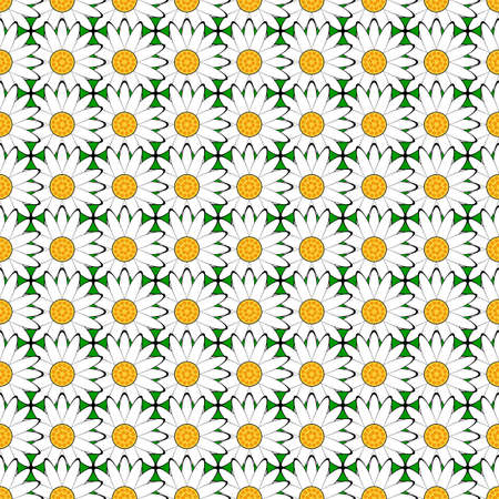 margerite: Design seamless colorful flower pattern. Chamomile decorative background. Vector art