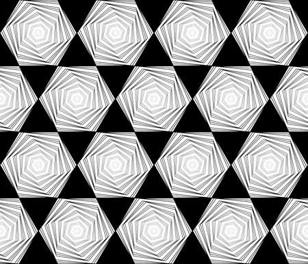 Design seamless monochrome hexagon geometric pattern. Abstract whirl lines textured background. Vector art Vector