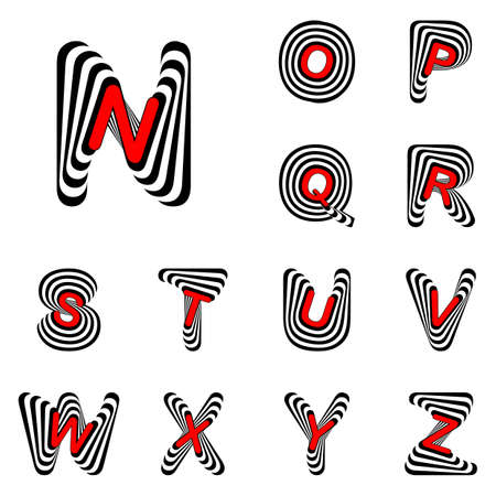 twisting: Design ABC letters from N to Z. Strip twisting lines textured font. Vector-art illustration