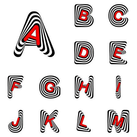 twisting: Design ABC letters from A to M. Strip twisting lines textured font. Vector-art illustration Illustration