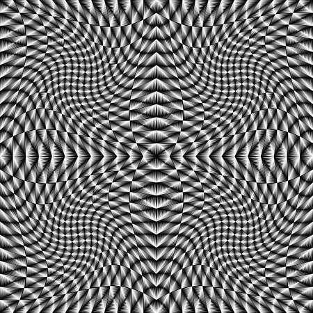 torsion: Design monochrome movement illusion checkered background. Abstract torsion backdrop. Vector-art illustration