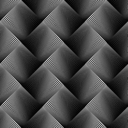 Design seamless wave geometric pattern. Abstract monochrome diamond background. Vector art Vector