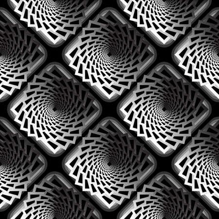 twisting: Design seamless monochrome vortex twisting pattern. Abstract decorative striped textured background. Vector art
